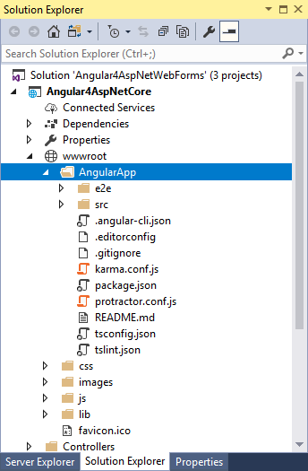 Prepare ASP NET projects (Web Forms / MVC / Core) to use Angular 4