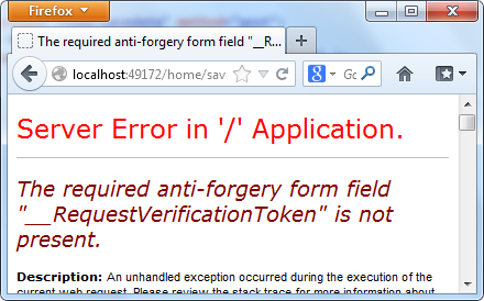 Using ValidateAntiForgeryToken Attribute in ASP NET MVC