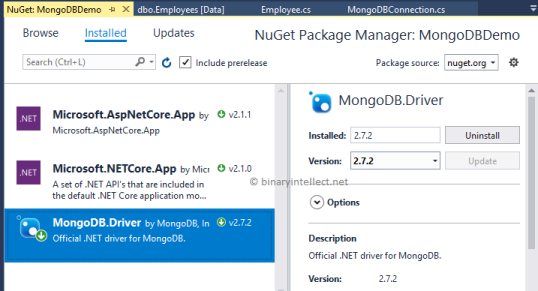 Use MongoDB in ASP NET Core (Part - 2, CRUD operations